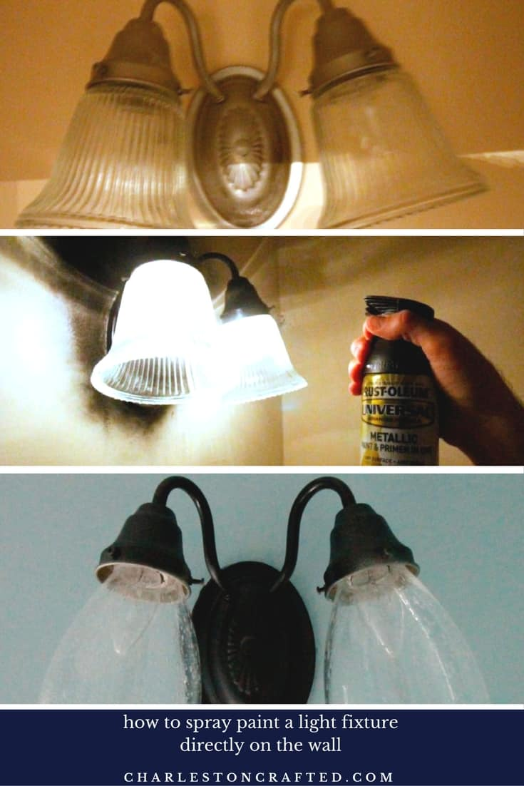 Bathroom Light Fixtures Used $100 half bathroom update: paint and an updated light fixture