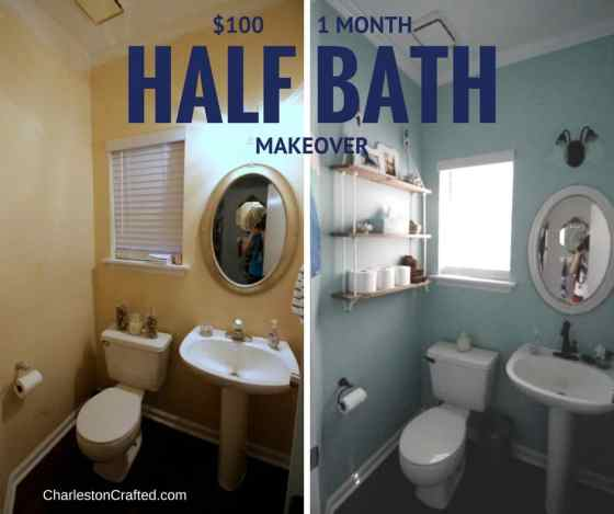 $100 1 Month Coastal Half Bathroom Makeover - Charleston Crafted
