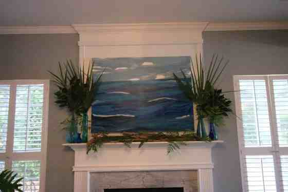 Tropical Summer Palm Leaf Mantel - Charleston Crafted