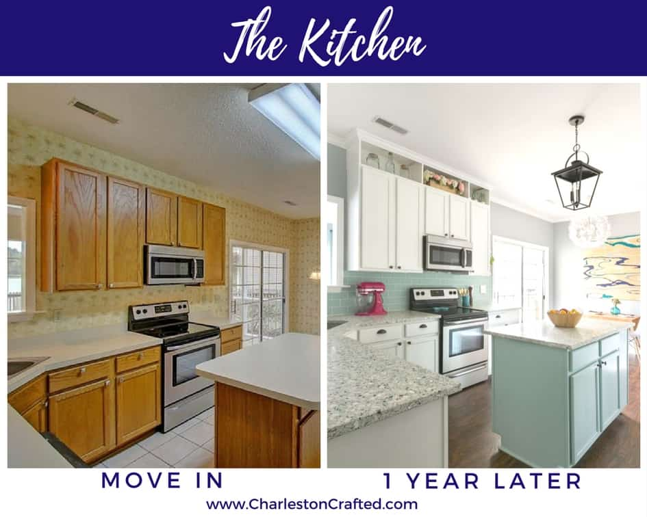 The Kitchen at move in and one year later - Charleston Crafted
