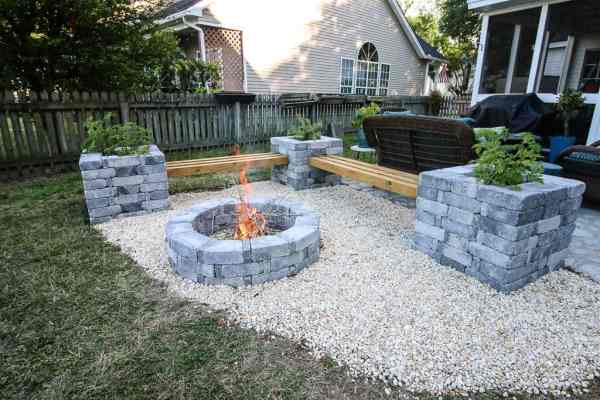 hardscape benches fire pit