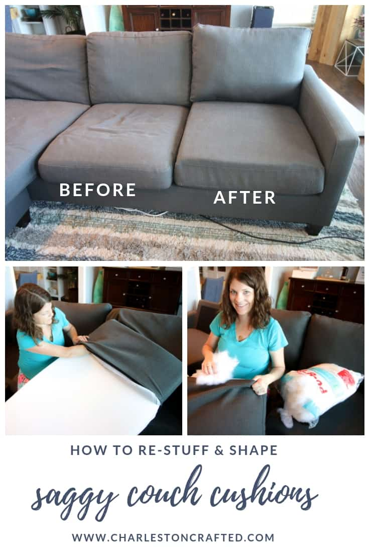 cleaning down filled sofa cushions leather fabric sofas reviews how to stuff give new life a saggy couch restuff before and after diy tutorial