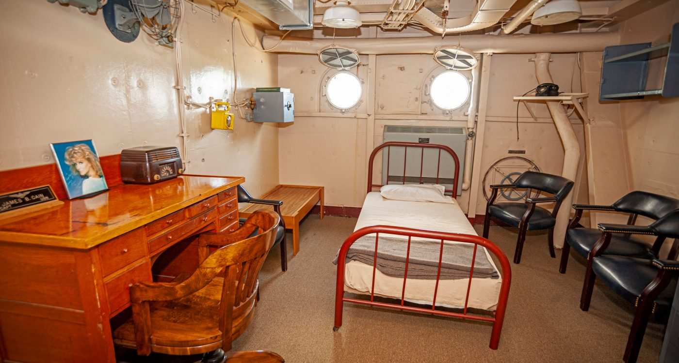 Captain's in port cabin on the USS Yorktown at Patriots Point