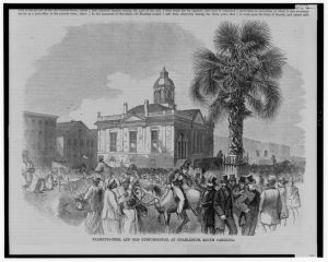 A drawing of the people of Charleston around the Custom House, circa 1860