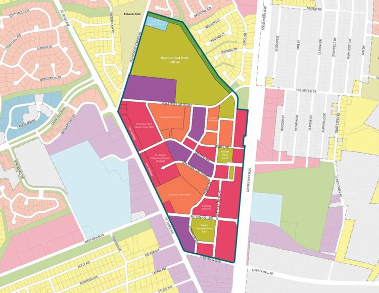 A proposed development plan map for the Central Village of Goose Creek