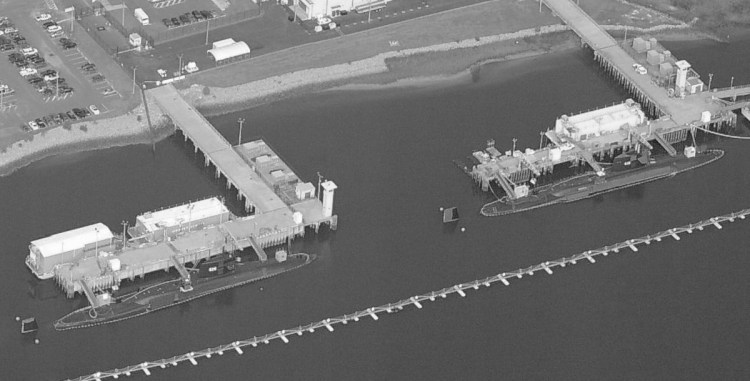 Aerial photo of submarines docked at the Nuclear Power Training Unit in Goose Creek