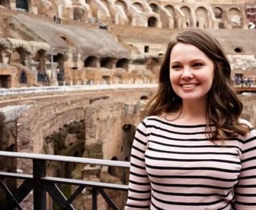 Student Danielle Hensley inside the colosseum in Rome.