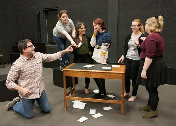 Students practicing a scene in the Black Box Theater.