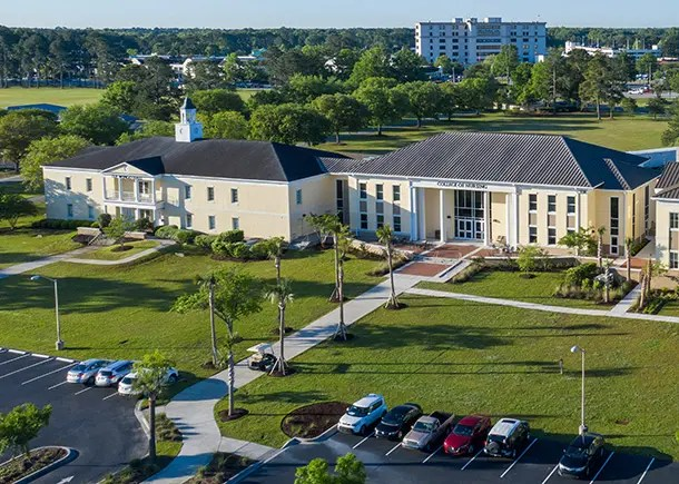 The College of Nursing building and Wingo Hall at Charleston Southern University.