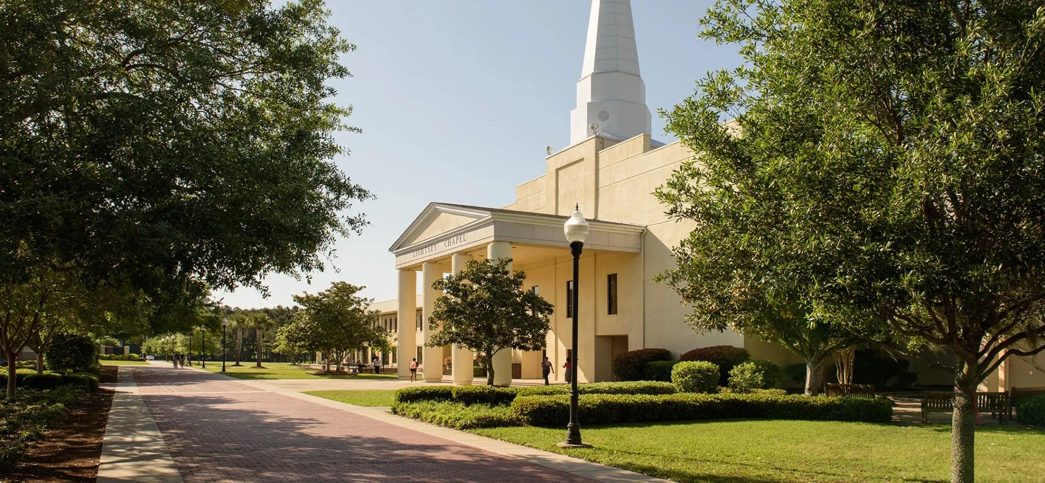 Charleston Southern University's Chapel, outside on a sunny day.