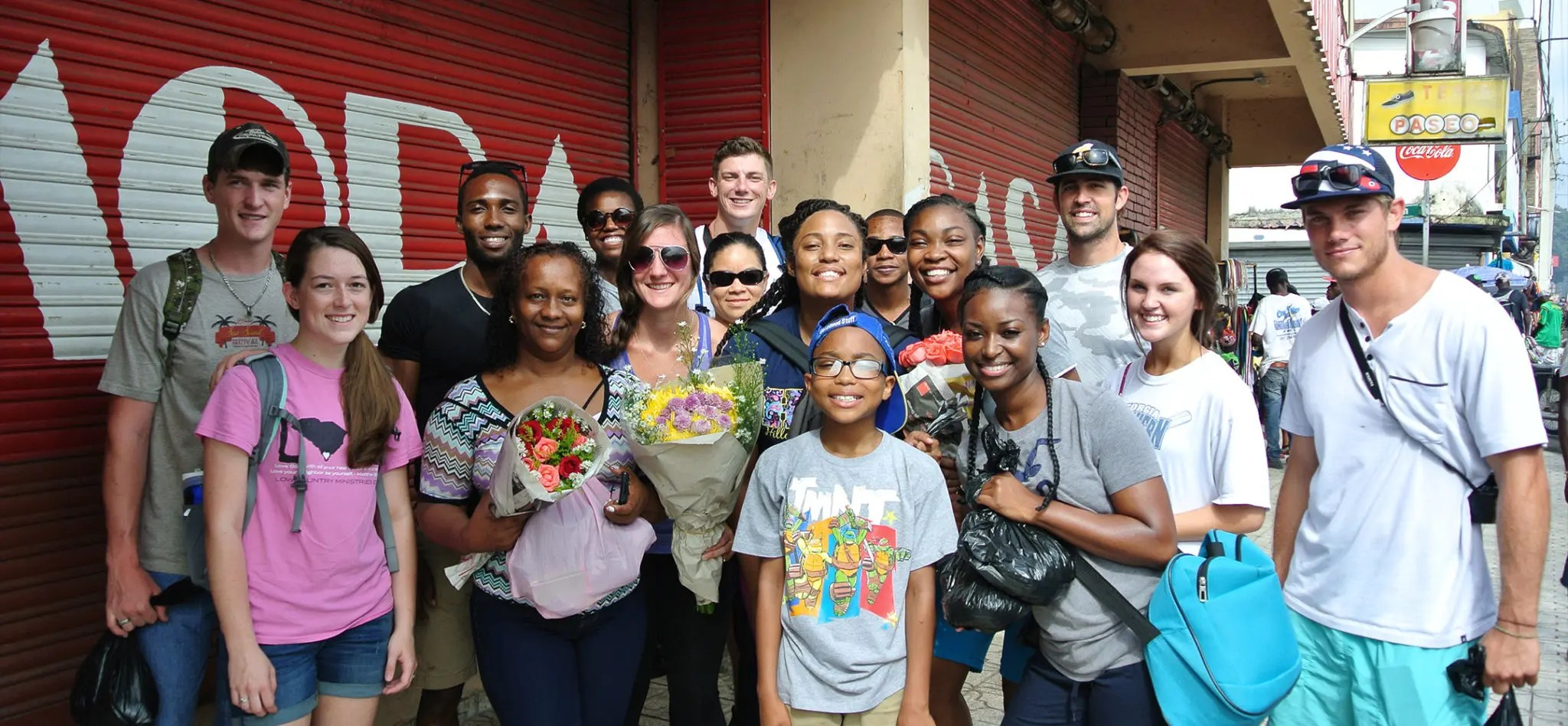 Students in a group photo while on a mission trip to the Dominican Republic.