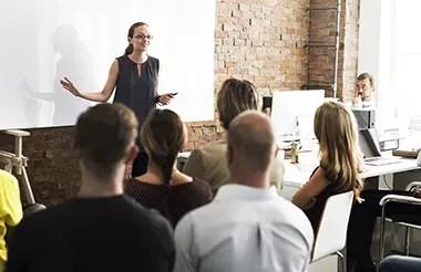 Business team training meeting.