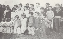 """Crossroads School 1923-24, Bradley County, Arkansas, - """"The Little Room"""" - BACK ROW, L-R: Beadie Ingram, Roujena Wherry, Inez Loomis, Alvin Doggett, Kermit Haygood, Muriel Parker, and Doyle Temple , MIDDLE ROW, L-R: Hazel Hairston, Leona Miller, Mildred Hairston, Pauline Haygood, Aleta Wherry, Car H. Wherry, O.W. Haygood, and Russell Carmical , FRONT ROW, L-R: Moree and Loree Wherry, Ollie Workman, Irene Doggett, Curtis Hairston, Rodney Johnson, and Roy Wherry , These identifications were copied from the book, """"Cross roads Missionary Baptist Church History."""" - CrossroadsSchool-1923-A.jpg"""