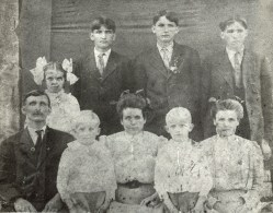 Thomas Jefferson Parnell Family, 1910, Near Warren, Arkansas, Great Grandparents with Grand Aunts & Uncles, Back Row (L to R): Beulah, Harvey, Wesley, and Ed Parnell Front Row (L to R): Thomas Jefferson, Oscar, Maggie Connell, James Clarence, and Mary Cornelia Parnell Doggett (My Grandmother), Parnells-1910-A.jpg