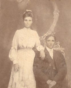 Wood & Mary Doggett, 1907, Warren, Arkansas, Grandparents, Wedding Photo, The photo I copied had been scratched up terribly by a child. I tried to clean it up but didn't do especially good. I was unable to repair her nose. Trial1WebFile.jpg