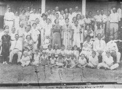 Parnell Reunion, 1936, Warren, Arkansas -- The following is how Irene Simmons labeled the people in the 1980's. In 1998 Clara made corrections on my printed copy as shown. TOP ROW (L to R) Mitchell & Mertie Thompson, Irene & Herbert Simmons, baby Janice Simmons, Earl Doggett, Troy Parnell, Eunie & Harvey Parnell w/ children Herbert & Margaret. In front, Lois & Russell Crmical w/ her husband and her mother's cousin Drewsey Cooper. In front of them is Howard Jones, Pat Carmical. CENTER FRONT, 2ND ROW DOWN (L to R) Everett Doggett, Clarence and Oscar Parnell, Beulah parnell Grice w/ Dorothy Sue in arms. CENTER, 3RD ROW DOWN (L to R) Royce Doggett, Beatrice w/Jo Nell, Ela Verne Parnell, Estelle & Lois Doggett with Elsie Ruth Carmical Parnell behind, Lurlene Grice and Odea Wolfe w/ baby Louise LEFT 3RD ROW DOWN (L to R)Thomas Jefferson Parnell, Augusta Carmical Parnell w/ Carrine Parnell behind. Cornelia Parnel Mann. LEFT: Vertie Parnell Harris w/son & daughter Austin & Daffina. Wood & Mary Doggett, w/ Mary Harrison in front. RIGHT, 3RD ROW DOWN (L to R) Mertie and Ed Parnell, Dan Parnell, 2 boys in front are in fmily of Irene & Drewsy Cooper, 2 girls in front of Mertie Parnell are her grandaughters Christine & Mardell Jones (Their mother Adull Parnell Jones was deceased at this time) TOP ROW OF SEATED CHILDREN (L to R) Eugene Parnell, Agness doggett, Dorothy Lynn Crmical, Cecil Carmical, Harold ThomasCarmical, Harold Parnell BOTTOM ROW OF SEATED CHILDREN (L to R) Marvelene Carmical, maybe Jo Nell Carmical, Clara Doggett, don't know, J.C. Doggett, and Marjorie Doggett -- Parnell-Reunion-1936-A.jpg