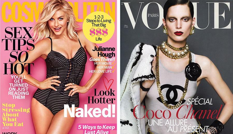 Waarom vrouwen in Vogue nooit lachen en in Cosmopolitan altijd
