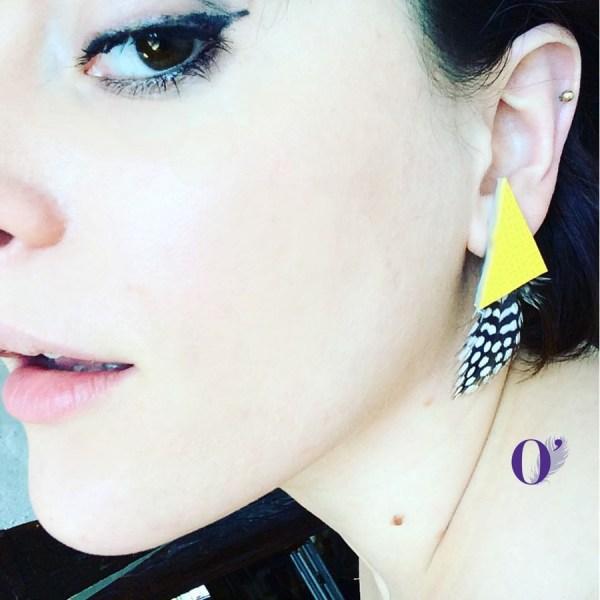 boucles d'oreilles jaune oplumes plume pintade