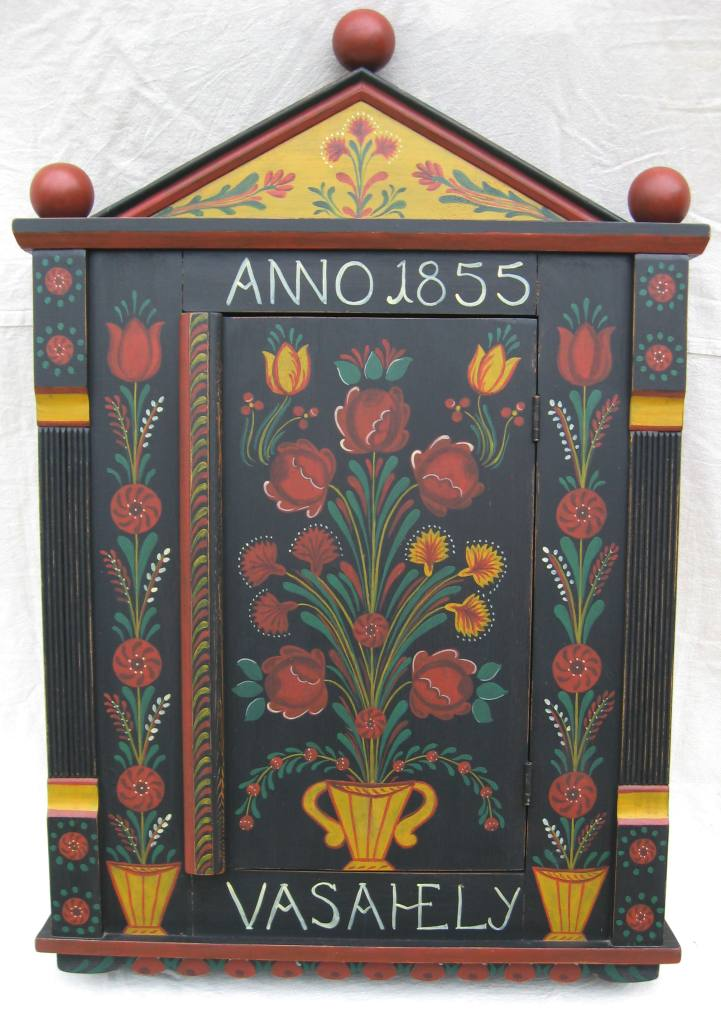 Hungarian painted carved wall cupboard farm peasant folk