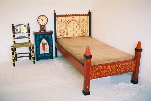 William Burges style Reformed Gothic Revival Gothic Painted bed & bedroom furniture
