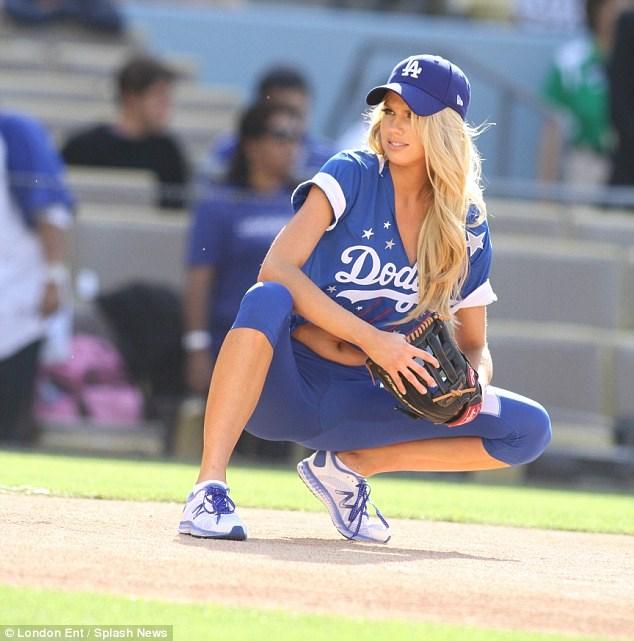 Charlotte McKinney - Dodgers Hollywood Stars softball - 08