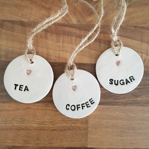 rustic tiles kitchen walmart aid mixer tea, coffee & sugar ceramic tags set of 3 - charlotte ...