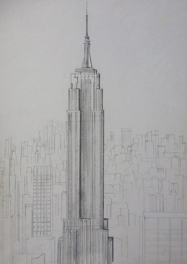 Empire State Building Pencil Drawing