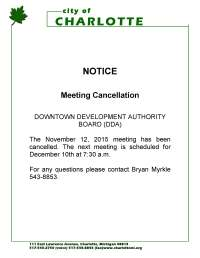 Notice of Meeting Cancellation for the Downtown ...