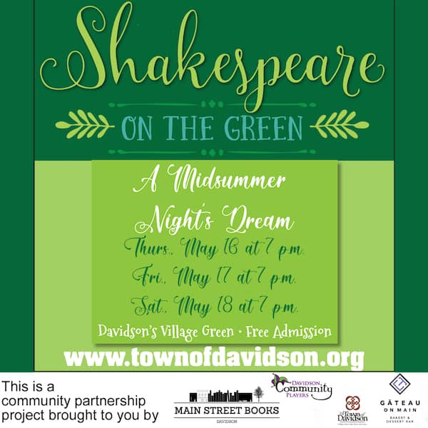flyer for Davidson's Shakespeare on the Green