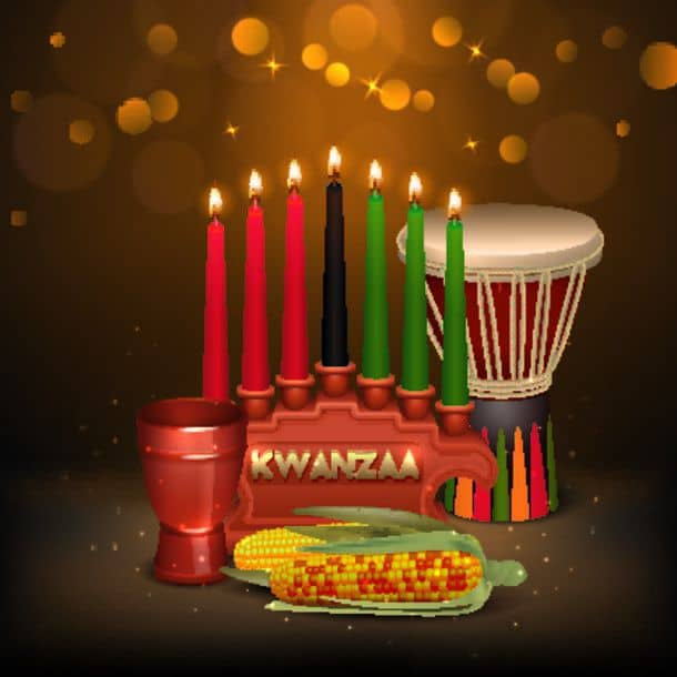 Kwanzaa Kinara Background Colorful Composition Poster African American Kwanzaa Holiday Celebration Colorful Festive Background Poster With Kinara Can