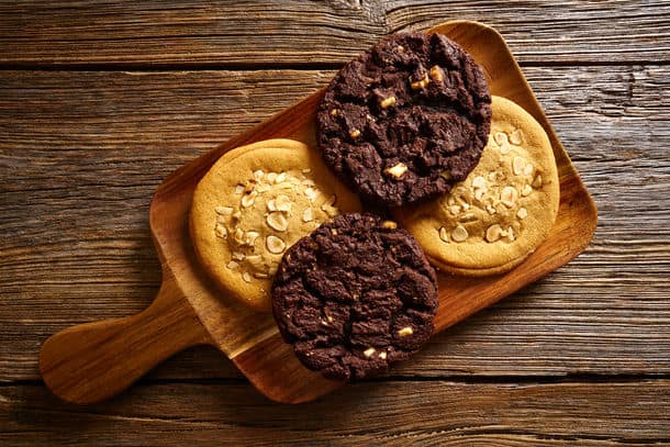 Chocolate Cookies In A Wooden Board Table