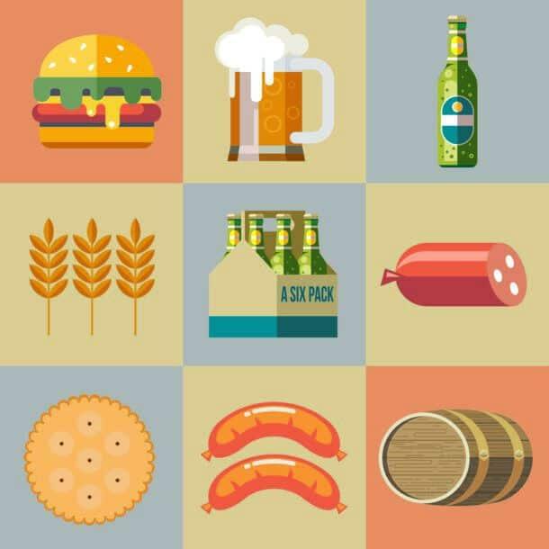 Set Of Vector Icons Beer Mug Bottle Packaging Bottle Of Beer Hamburger Sausage Biscuits Barley Ear
