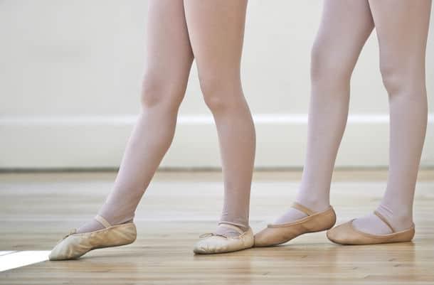 Close Up Of Feet In Children S Ballet Dancing Class