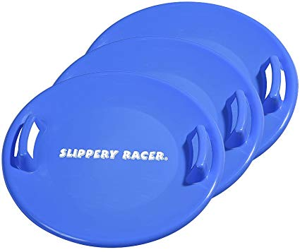 Slippery Racer Downhill Pro Saucer Disc Snow Sled - 3 PACK