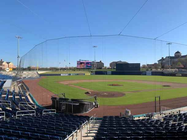 Atribum Health Ballpark in Kannapolis from behind home plate