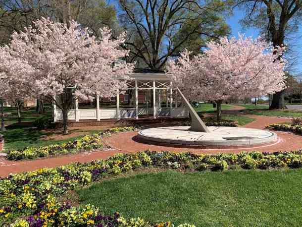 Veterans Park in Kannpolis with sundial and cherry blossoms
