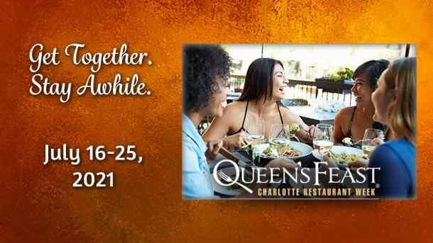 banner ad for Charlotte Restaurant Week with four women enjoying dinner together
