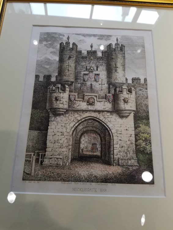 1807 print of Micklegate Bar by Joseph Halfpenny (1748–1811) an English draughtsman and engraver.