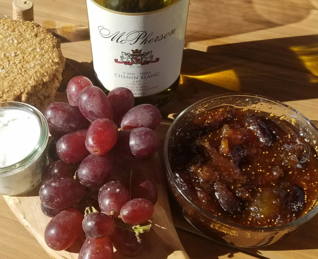grapes, oatmeal cookies, goat cheese, fig jam