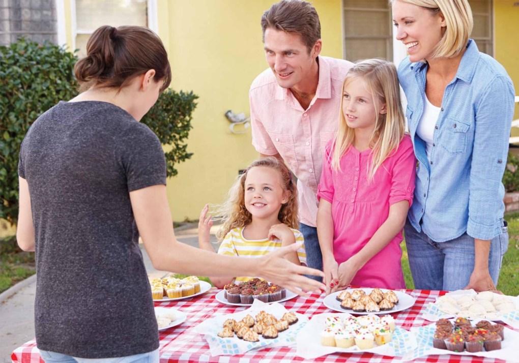 Family at bake sale