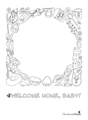 Welcome Home Baby Coloring Page