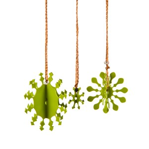 Three 3D metal snowflakes coated in green enamel paint for hanging on the Christmas tree.