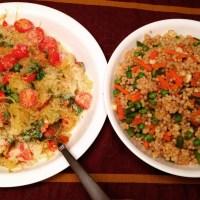 Spaghetti Squash Peperonata & Pearled Couscous Vegetable Pilaf