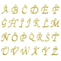 Beadnova 100pcs Assorted Gold Plated ABC Letter Alphabet Charm Pendant Loose Beads for Charm Bracelet Jewelry Making