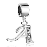 Sale Cheap Alphabet Letter A Charms Initial Spacer Dangle Birthstone Crystal Beads Charm Pandora Compatible