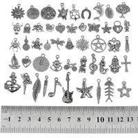 Wholesale Bulk Lots Tibetan Silver Mix Pendants Charms Bracelet Necklace Jewelry Findings -Mix 1, 200 PCS, By eArt