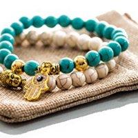 Gems of Peace - Antique White & Turquoise with Gold Charm Hamsa Buddha Bracelets