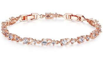 9c34c9f10 Bamoer Luxury Rose Gold Bracelets with Sparkling Clear Cubic Zirconia CZ  Crystal Women Girls Charms Bangle