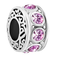 LuckyJewelry Filigree Charm 12 Colors Crystal Birthstone Spacer Round Beads Cheap Fit Pandora Charms Bracelet Sale (June)