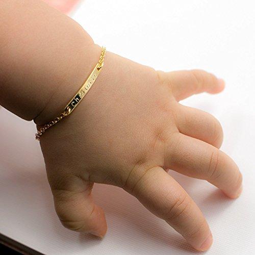 Solid 925 Sterling Silver Polished Engraveable Plate Infant Toddler Kids Childrens ID Love Heart Link Bracelet 6